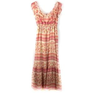 Lauren Conrad Striped Floral Ruffle Maxi Dress.